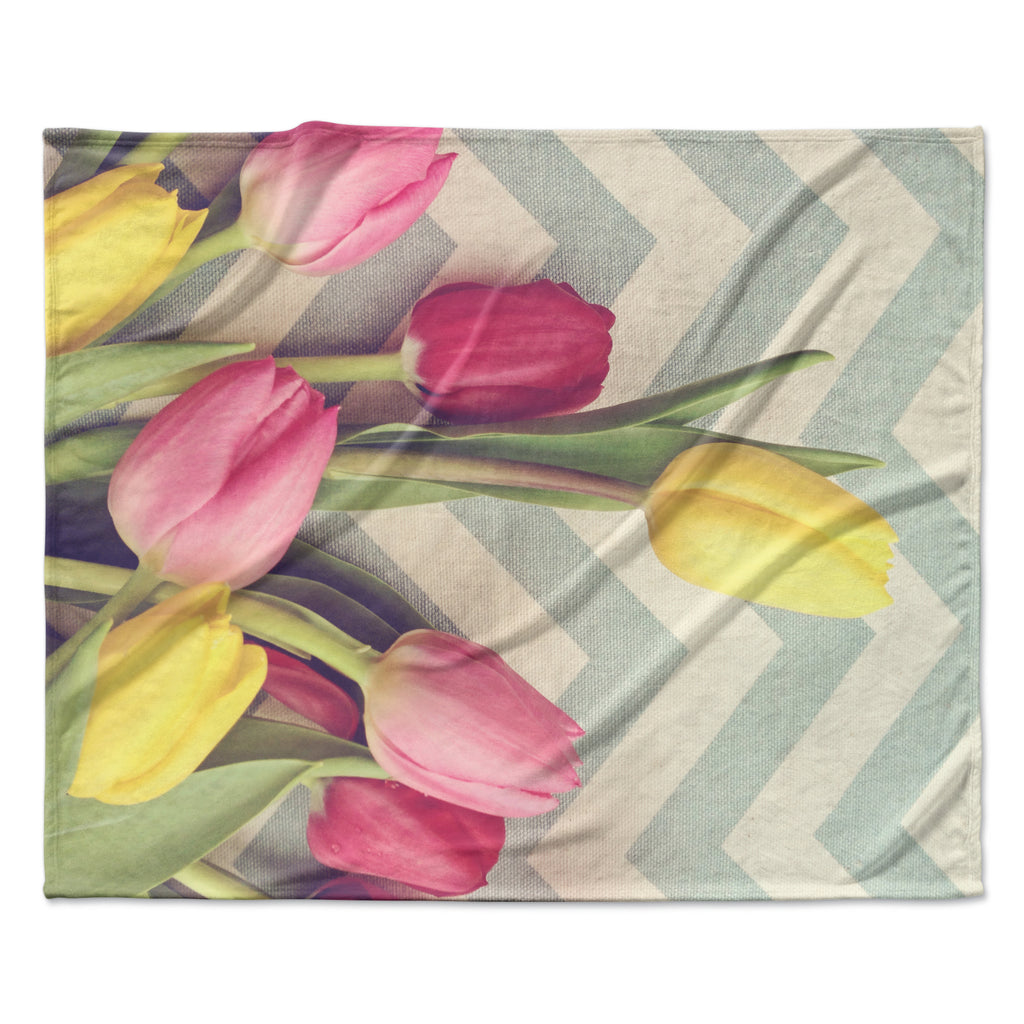 "Catherine McDonald ""Tulips and Chevrons"" Fleece Throw Blanket"