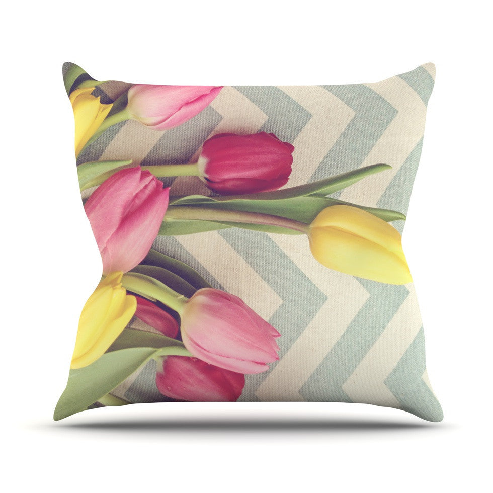 "Catherine McDonald ""Tulips and Chevrons"" Outdoor Throw Pillow - KESS InHouse  - 1"