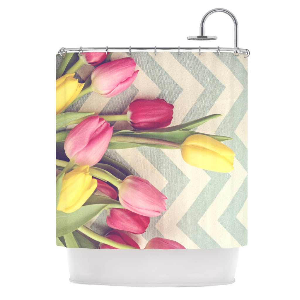 "Catherine McDonald ""Tulips and Chevrons"" Shower Curtain - KESS InHouse"