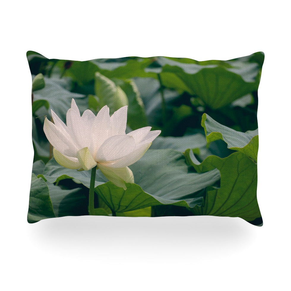 "Catherine McDonald ""White Lotus"" Green White Oblong Pillow - KESS InHouse"
