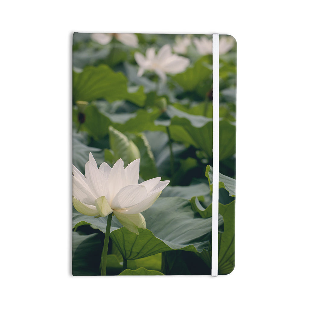 "Catherine McDonald ""White Lotus"" Green White Everything Notebook - KESS InHouse  - 1"