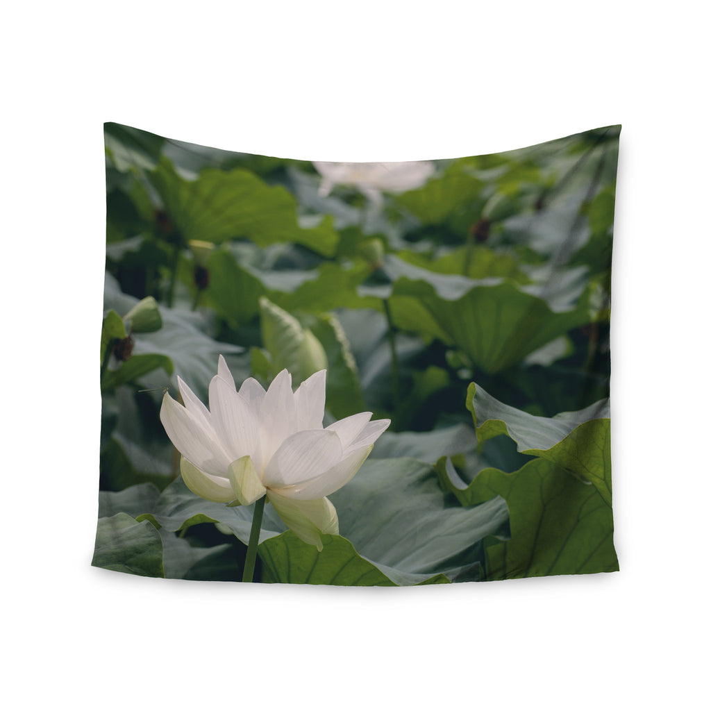 "Catherine McDonald ""White Lotus"" Green White Wall Tapestry - KESS InHouse  - 1"