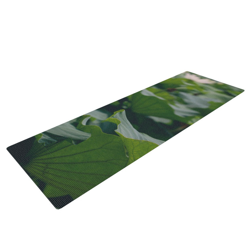 "Catherine McDonald ""White Lotus"" Green White Yoga Mat - KESS InHouse  - 1"