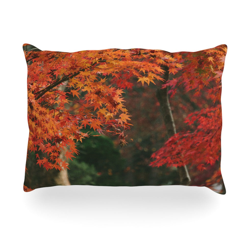 "Catherine McDonald ""Autumn Sonata"" Orange Green Oblong Pillow - KESS InHouse"
