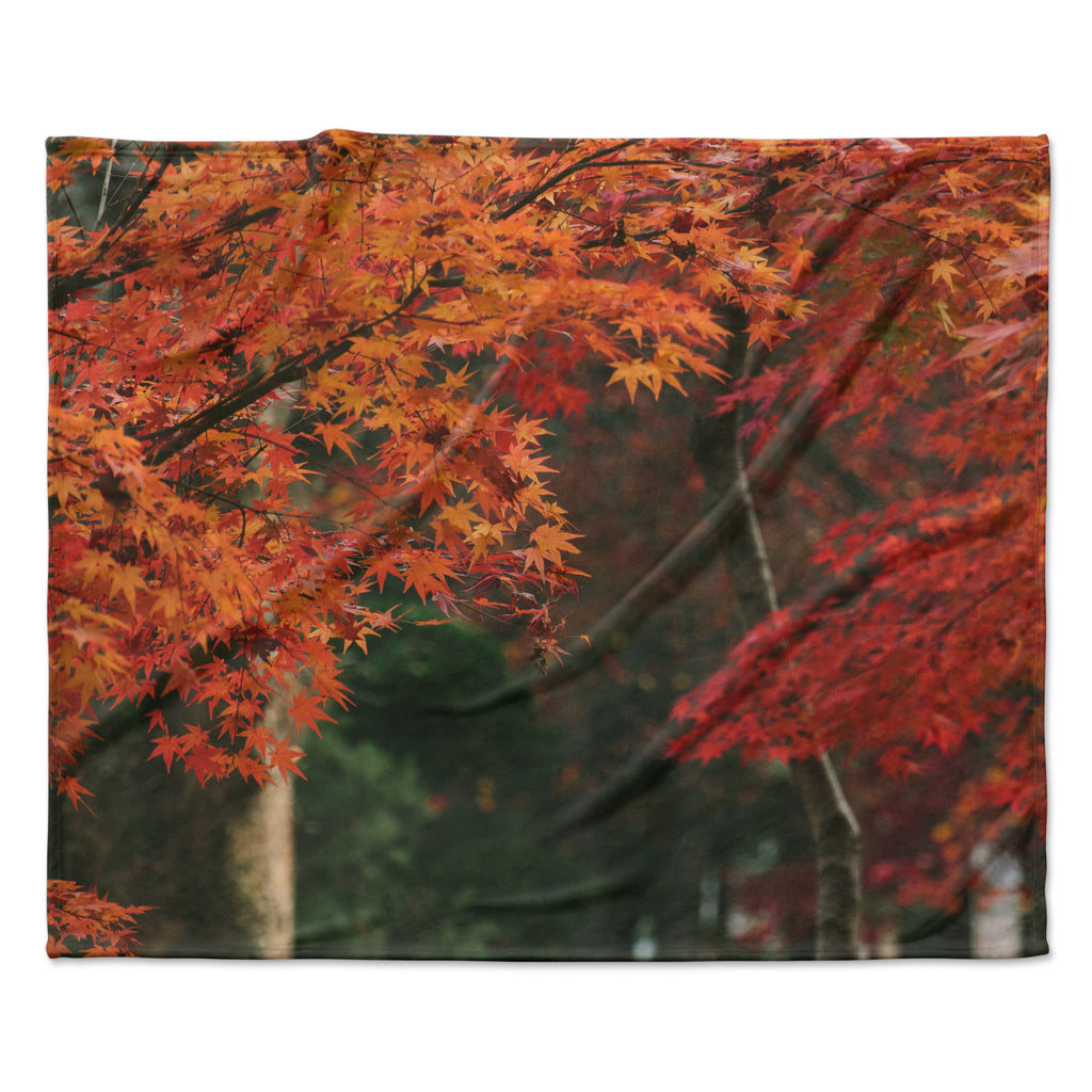 "Catherine McDonald ""Autumn Sonata"" Orange Green Fleece Throw Blanket"
