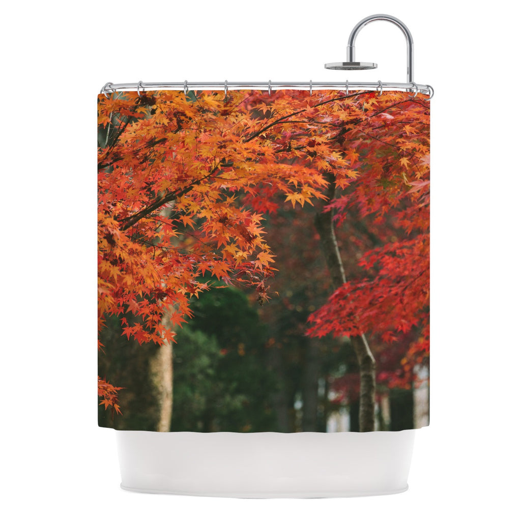 "Catherine McDonald ""Autumn Sonata"" Orange Green Shower Curtain - KESS InHouse"