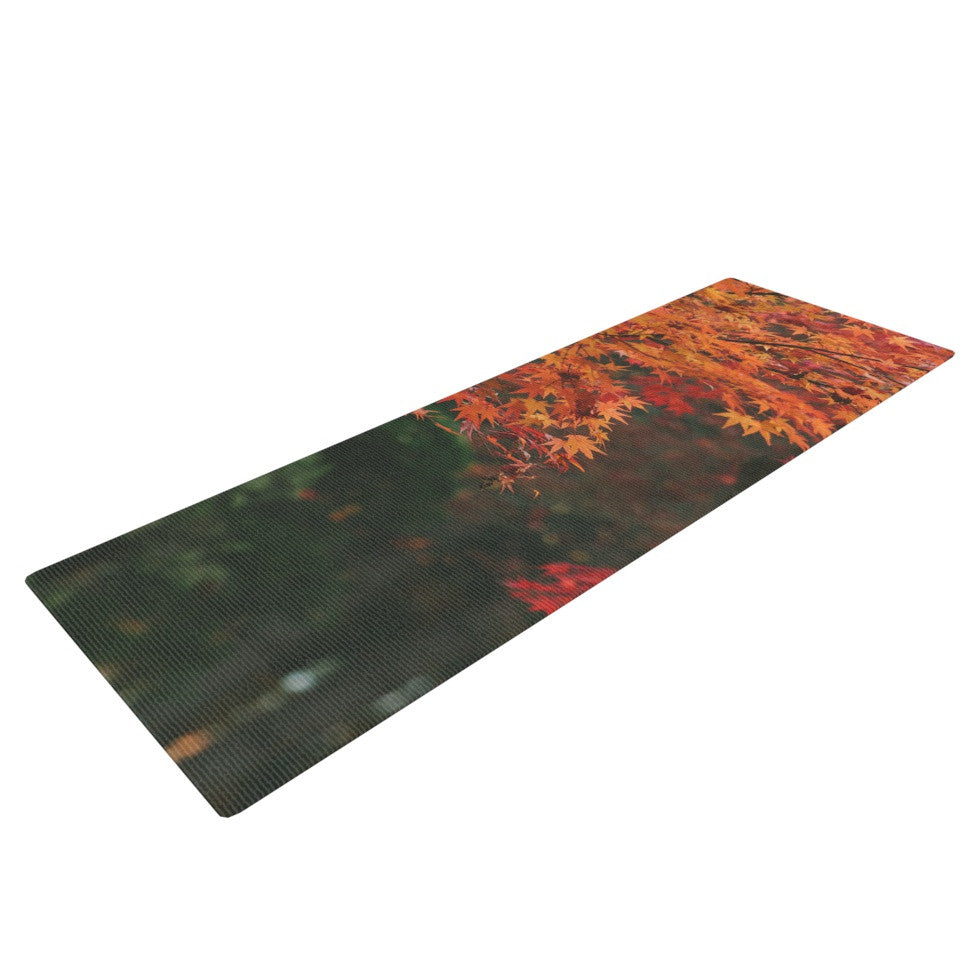 "Catherine McDonald ""Autumn Sonata"" Orange Green Yoga Mat - KESS InHouse  - 1"