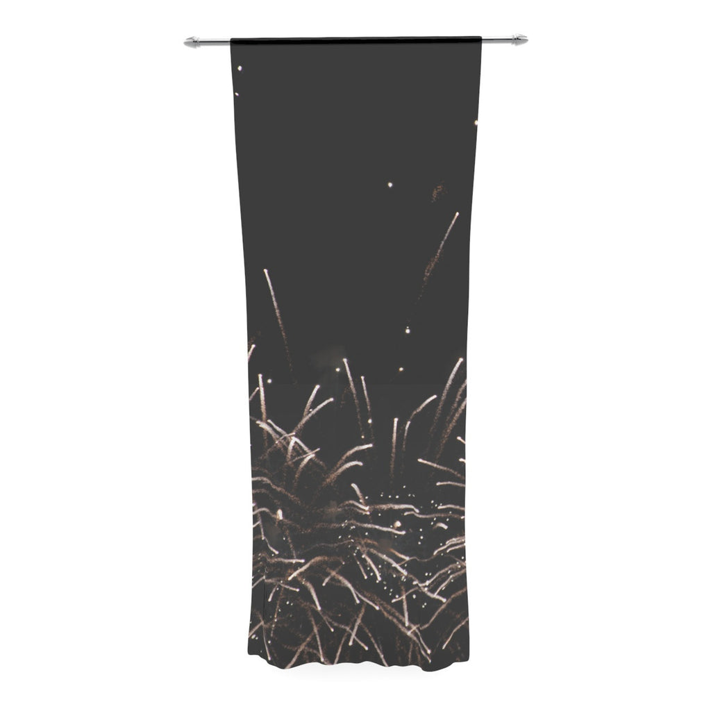 "Catherine McDonald ""Fireworks"" Black White Decorative Sheer Curtain - KESS InHouse  - 1"