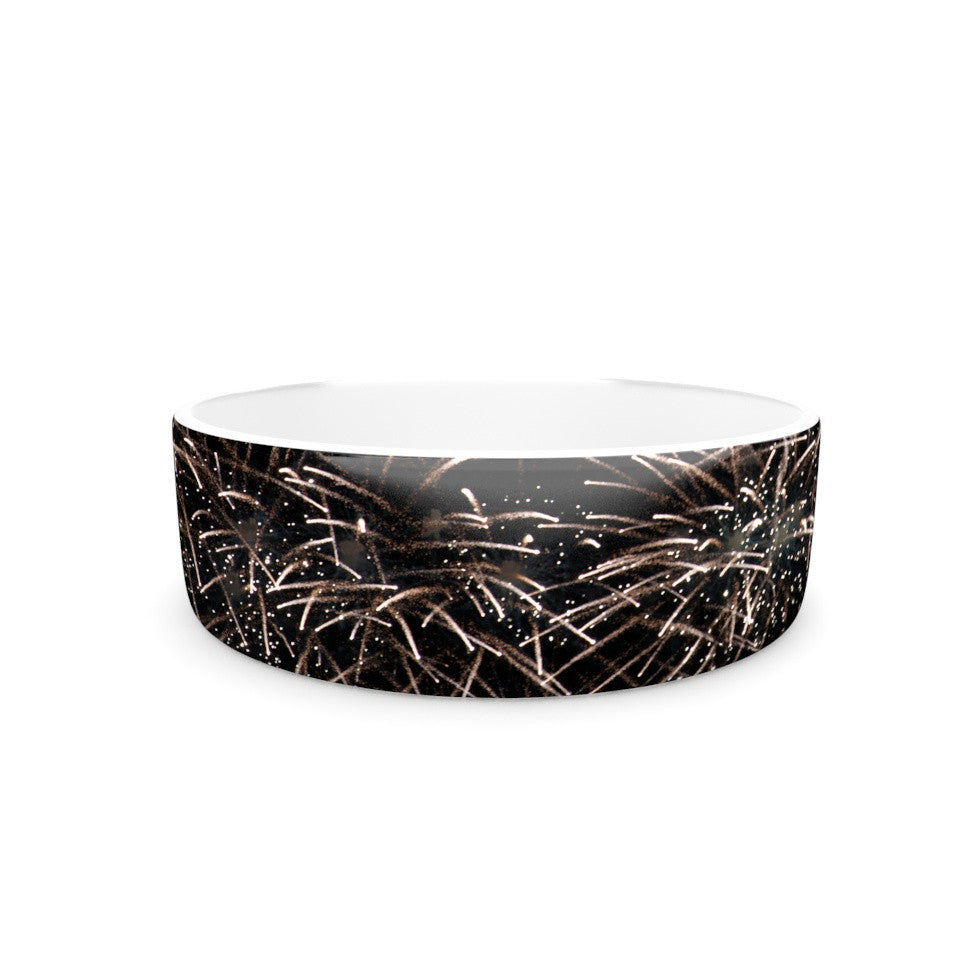 "Catherine McDonald ""Fireworks"" Black White Pet Bowl - KESS InHouse"
