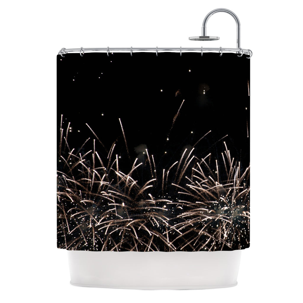 "Catherine McDonald ""Fireworks"" Black White Shower Curtain - KESS InHouse"