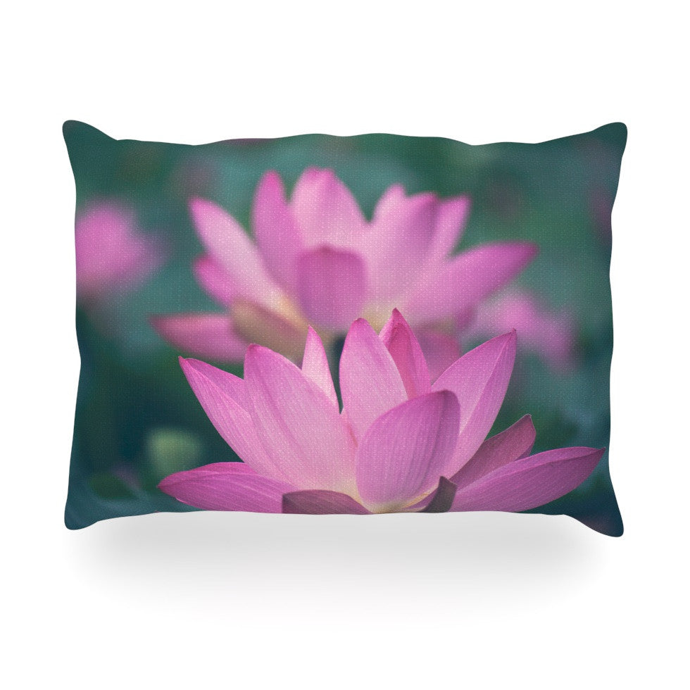 "Catherine McDonald ""Hope for Tomorrow"" Pink Green Oblong Pillow - KESS InHouse"