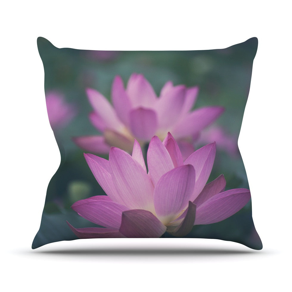 "Catherine McDonald ""Hope for Tomorrow"" Pink Green Outdoor Throw Pillow - KESS InHouse  - 1"