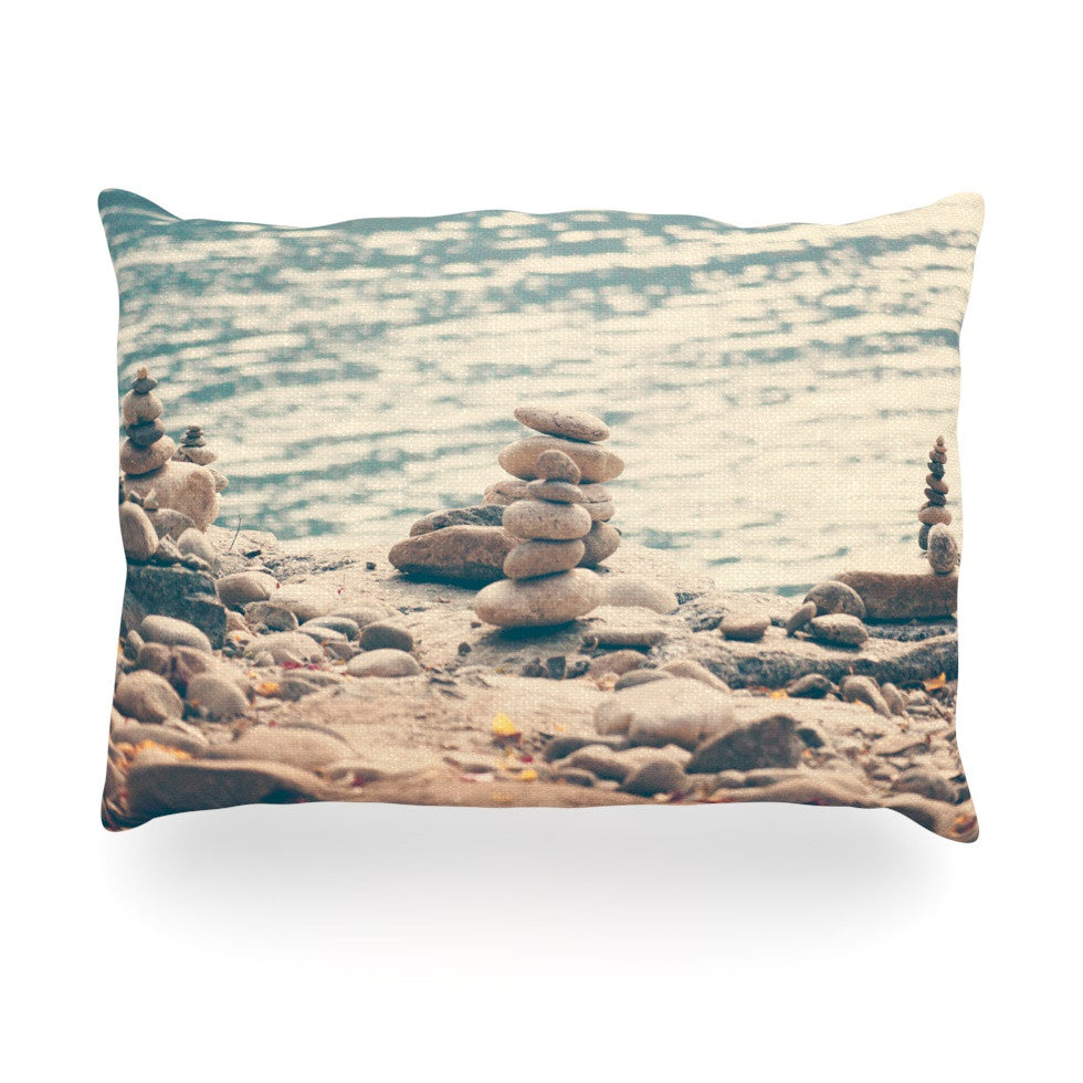 "Catherine McDonald ""River Cairns"" Brown Blue Oblong Pillow - KESS InHouse"