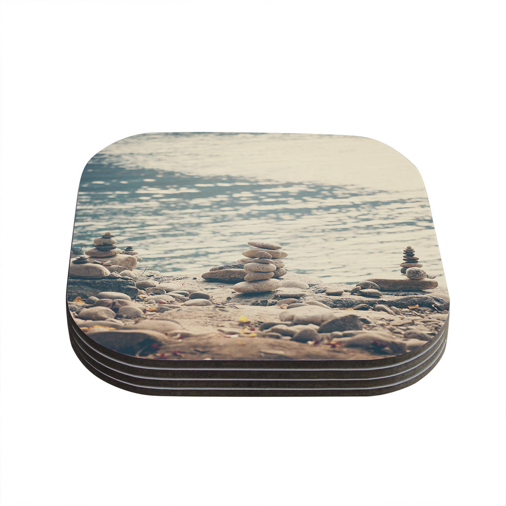 "Catherine McDonald ""River Cairns"" Brown Blue Coasters (Set of 4)"