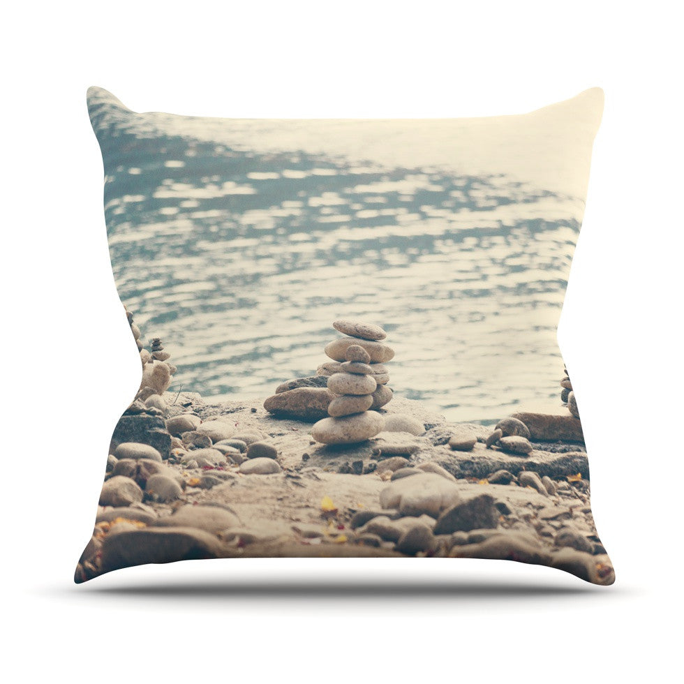 "Catherine McDonald ""River Cairns"" Brown Blue Outdoor Throw Pillow - KESS InHouse  - 1"