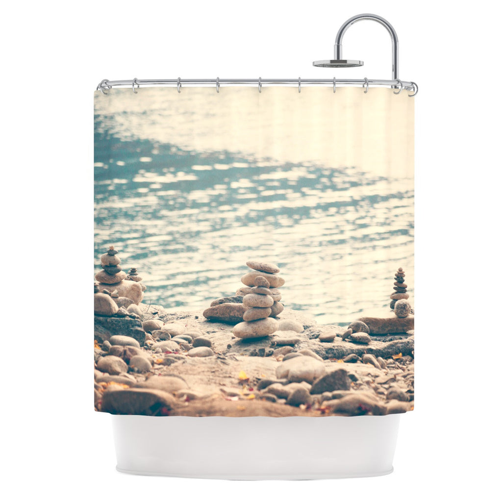 "Catherine McDonald ""River Cairns"" Brown Blue Shower Curtain - KESS InHouse"