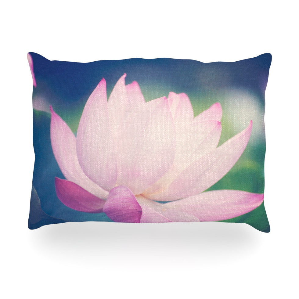 "Catherine McDonald ""Hope for Tomorrow II"" Green Pink Oblong Pillow - KESS InHouse"