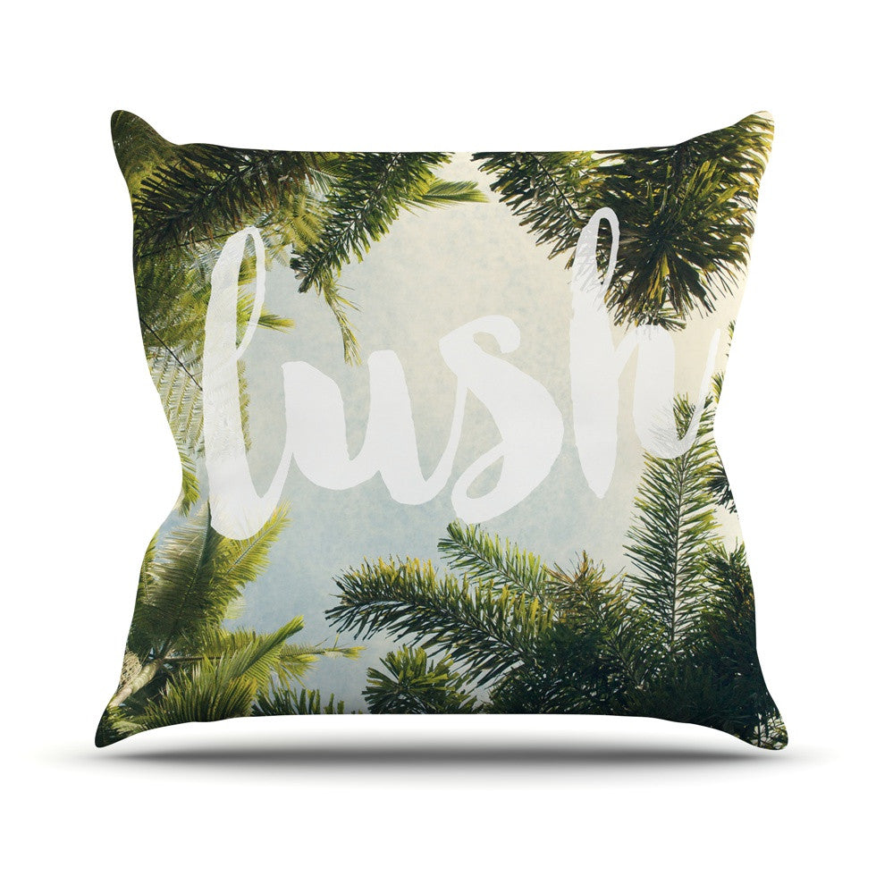 "Catherine McDonald ""Lush"" Nature Typography Outdoor Throw Pillow - KESS InHouse  - 1"