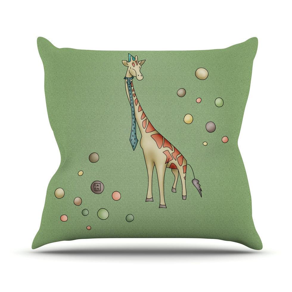 "Carina Povarchik ""Giraffe"" Outdoor Throw Pillow - KESS InHouse  - 1"