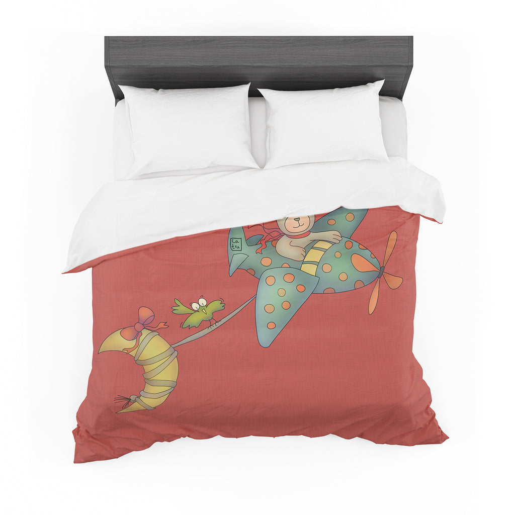 "Carina Povarchik ""I Will Bring You The Moon"" Bear Cotton Duvet"