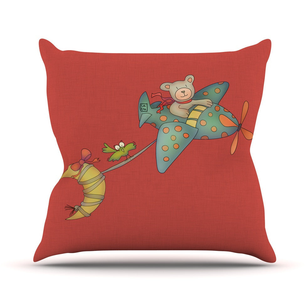 "Carina Povarchik ""I Will Bring You The Moon"" Bear Outdoor Throw Pillow - KESS InHouse  - 1"