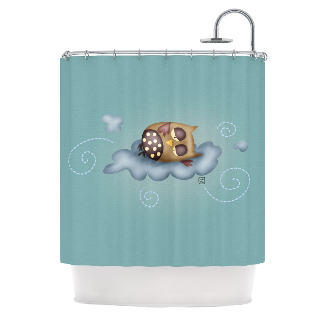 Owl shower curtains - Carina Povarchik Sleepy Guardian Owl Shower Curtain Kess Inhouse