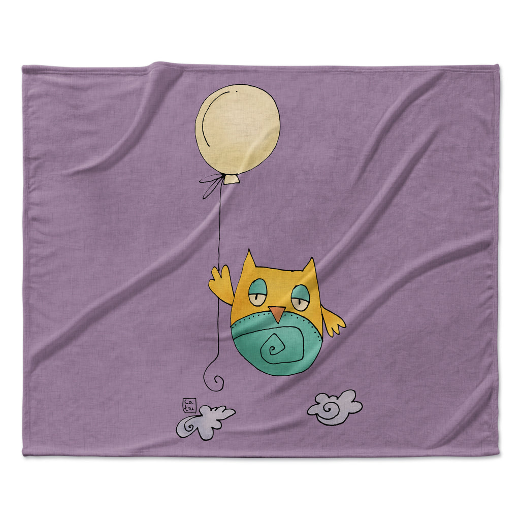 "Carina Povarchik ""Lechuzita en Ballon"" Owl Fleece Throw Blanket"