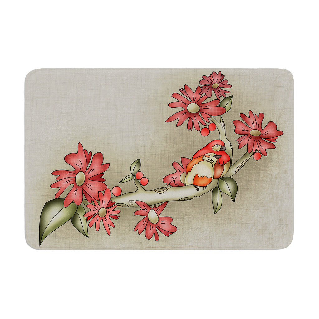 "Carina Povarchik ""Feng Shui"" Red Brown Memory Foam Bath Mat - KESS InHouse"