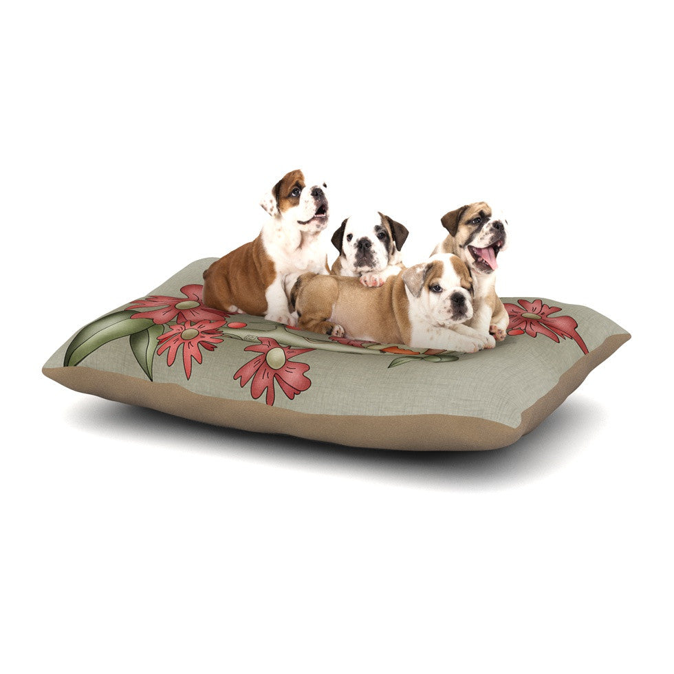 "Carina Povarchik ""Feng Shui"" Red Brown Dog Bed - KESS InHouse  - 1"