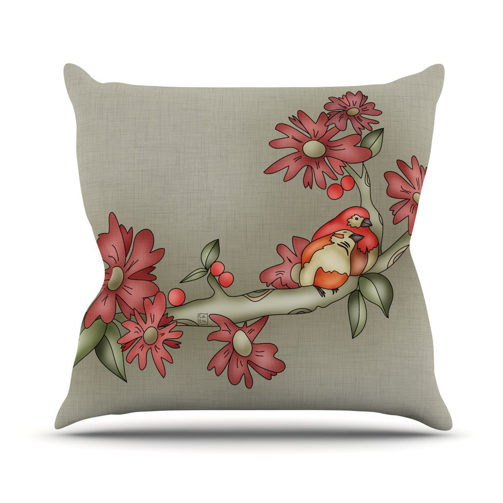 "Carina Povarchik ""Feng Shui"" Red Brown Outdoor Throw Pillow - KESS InHouse  - 1"