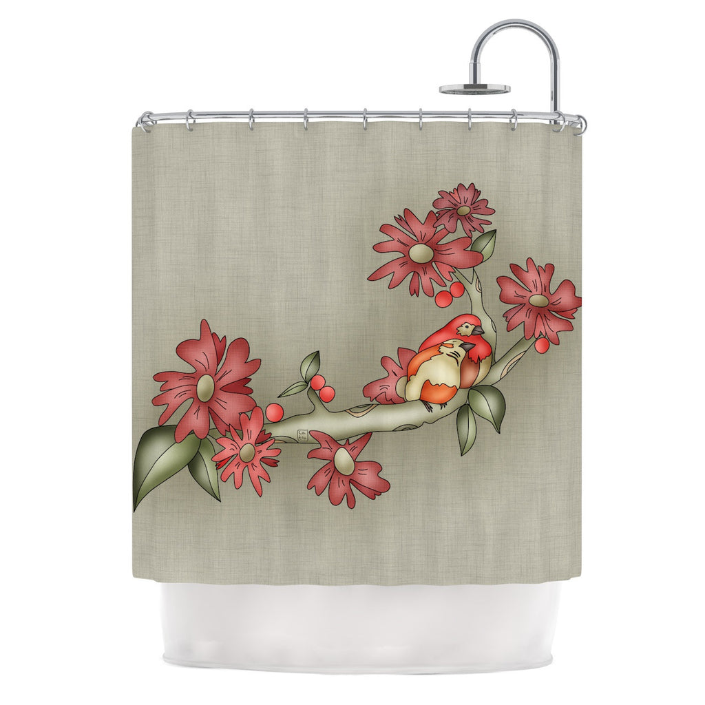 "Carina Povarchik ""Feng Shui"" Red Brown Shower Curtain - KESS InHouse"