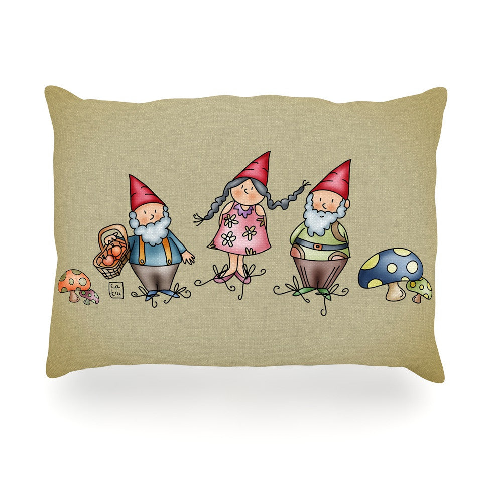"Carina Povarchik ""Gnomes"" Brown Multicolor Oblong Pillow - KESS InHouse"