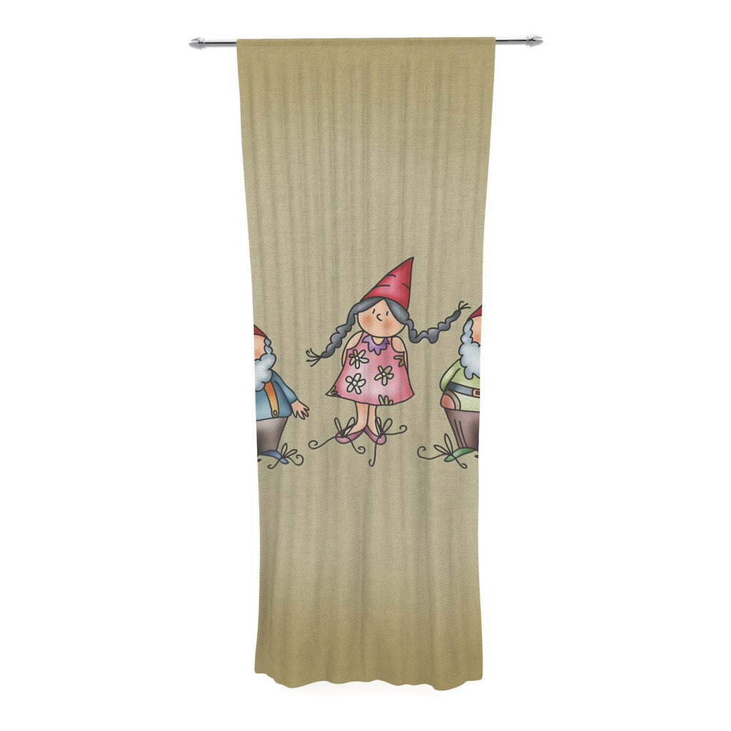 "Carina Povarchik ""Gnomes"" Brown Multicolor Decorative Sheer Curtain - KESS InHouse  - 1"