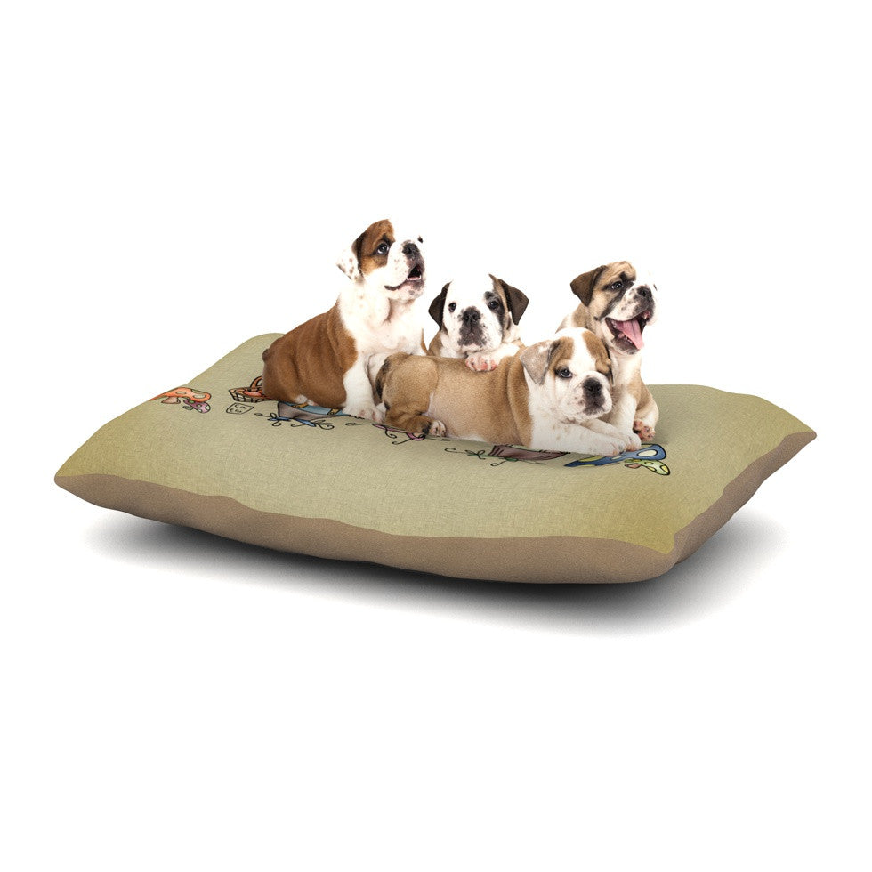 "Carina Povarchik ""Gnomes"" Brown Multicolor Dog Bed - KESS InHouse  - 1"