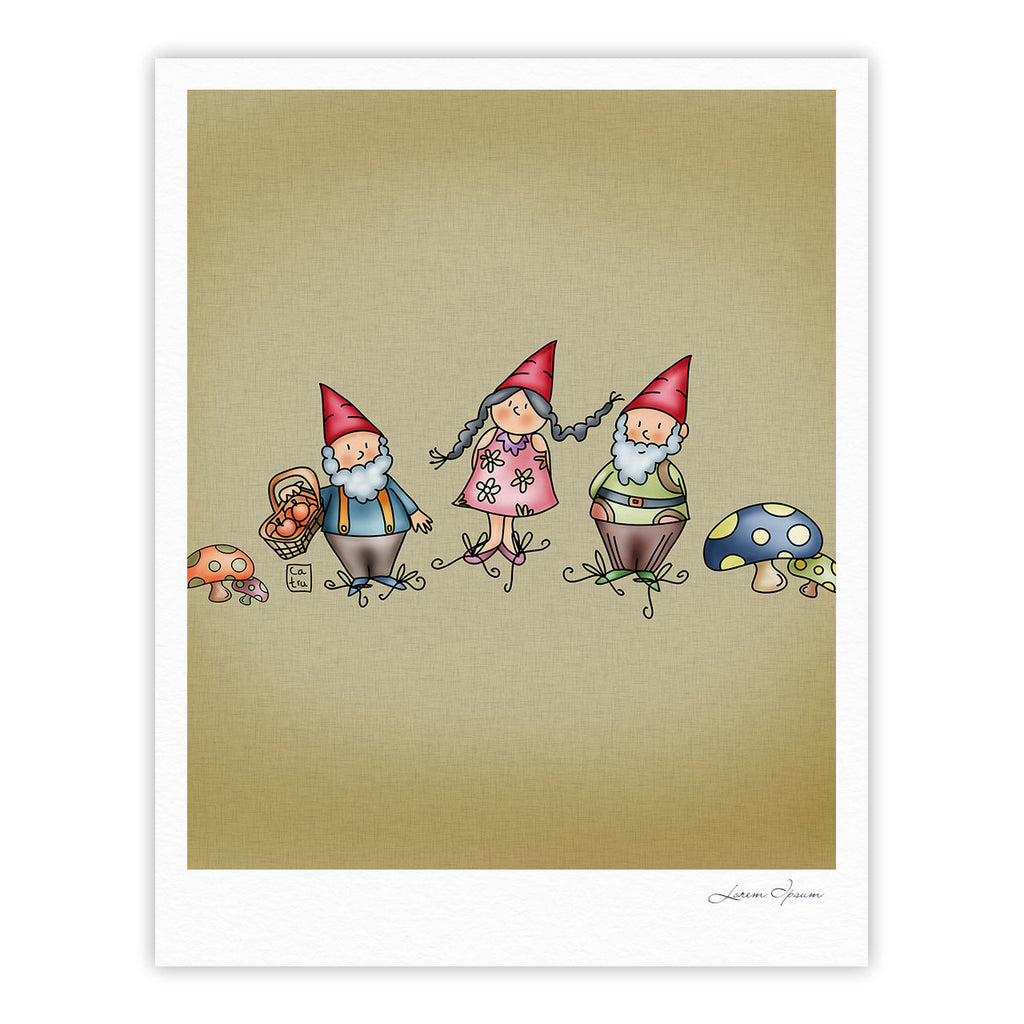 "Carina Povarchik ""Gnomes"" Brown Multicolor Fine Art Gallery Print - KESS InHouse"