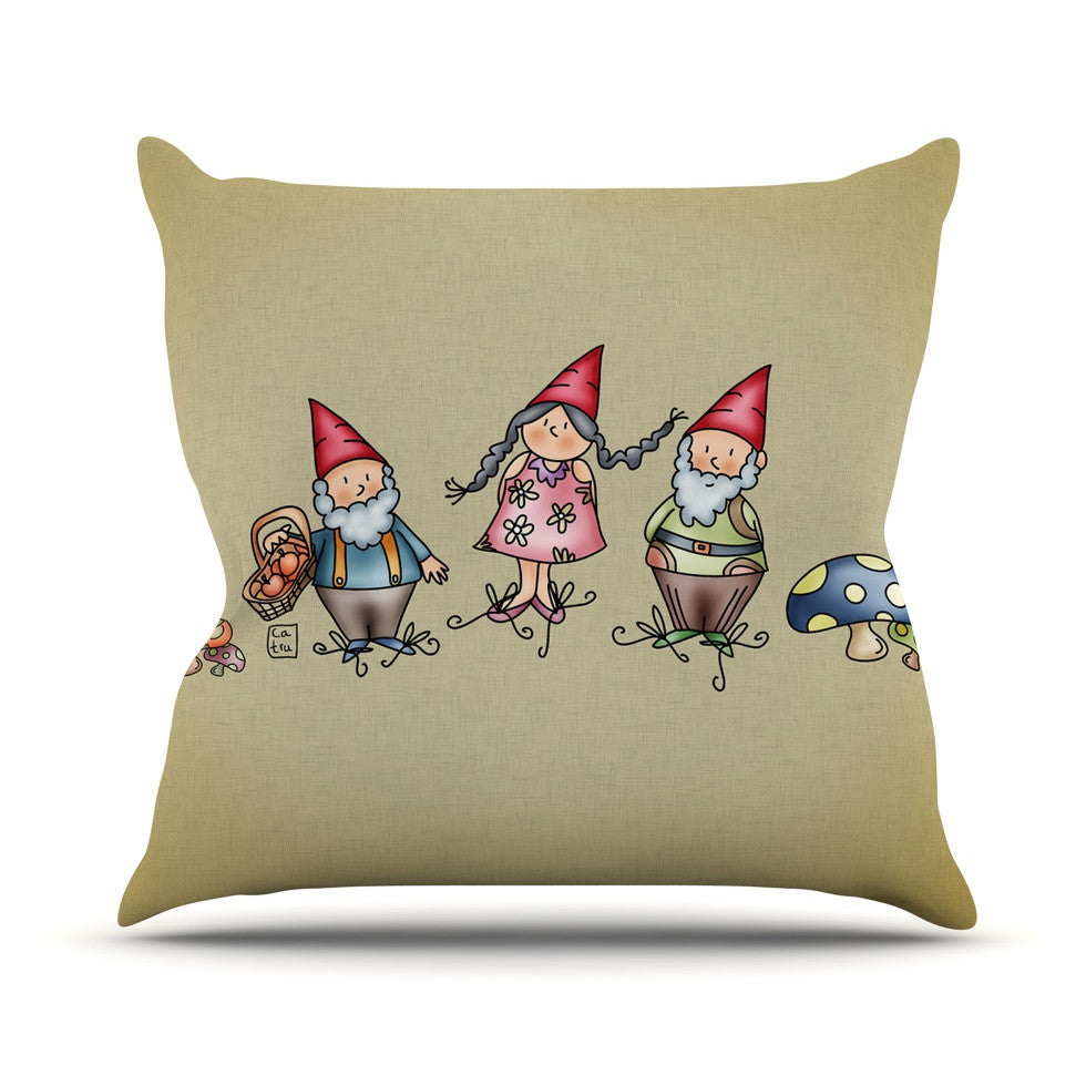 "Carina Povarchik ""Gnomes"" Brown Multicolor Outdoor Throw Pillow - KESS InHouse  - 1"