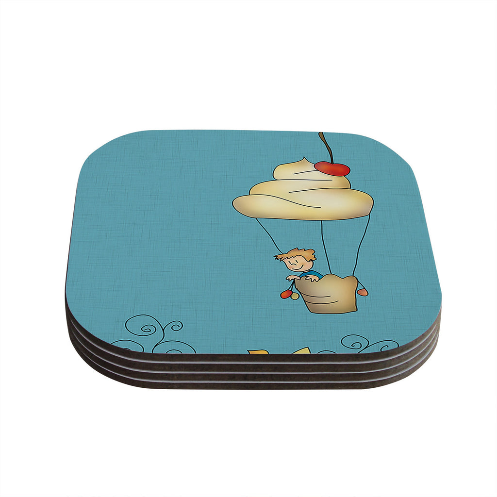 "Carina Povarchik ""Sweet World"" Blue Coasters (Set of 4)"
