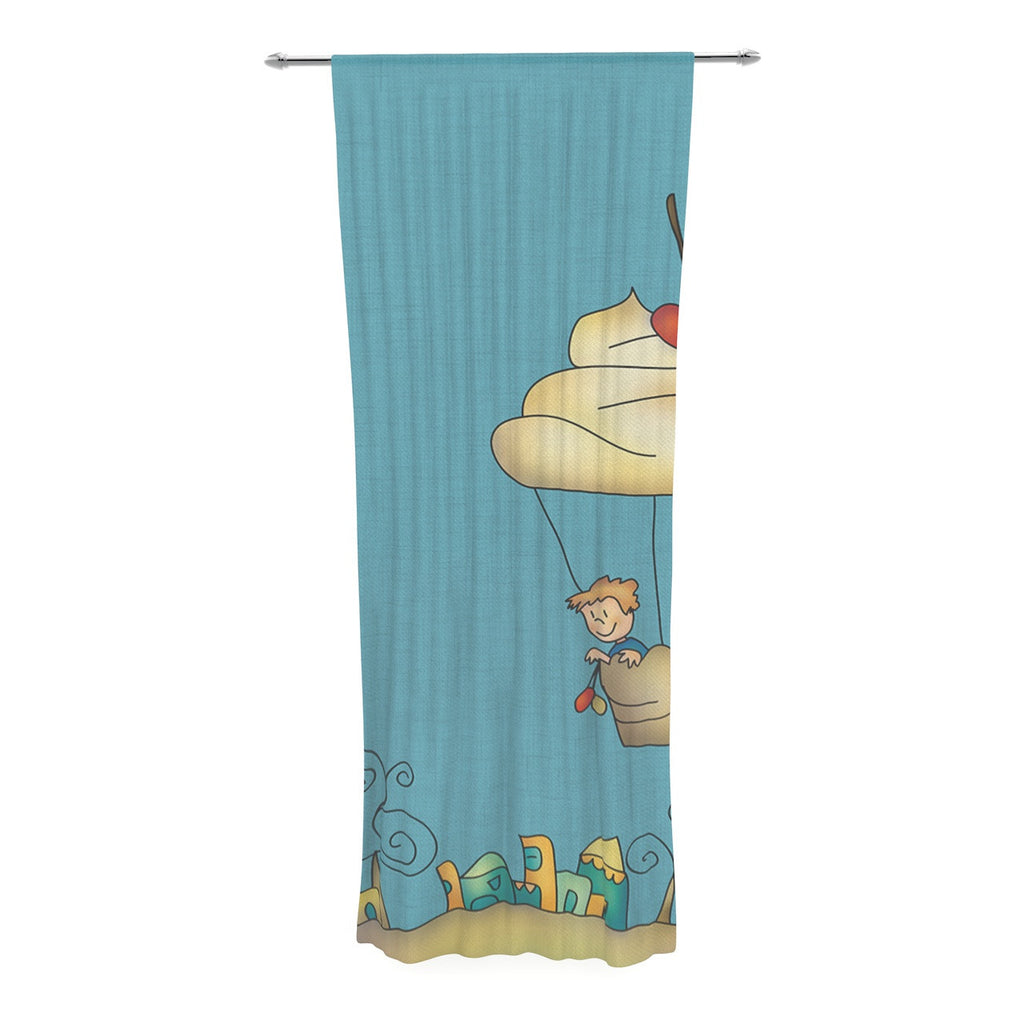 "Carina Povarchik ""Sweet World"" Blue Decorative Sheer Curtain - KESS InHouse  - 1"