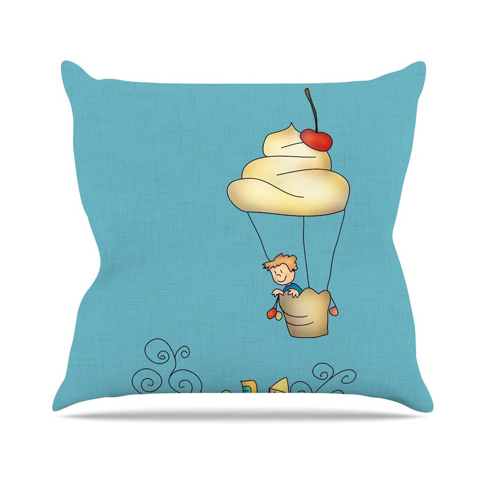 "Carina Povarchik ""Sweet World"" Blue Outdoor Throw Pillow - KESS InHouse  - 1"