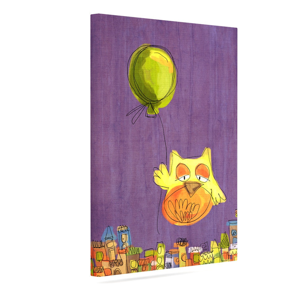"Carina Povarchik ""Owl Balloon"" Purple Orange Canvas Art - KESS InHouse  - 1"