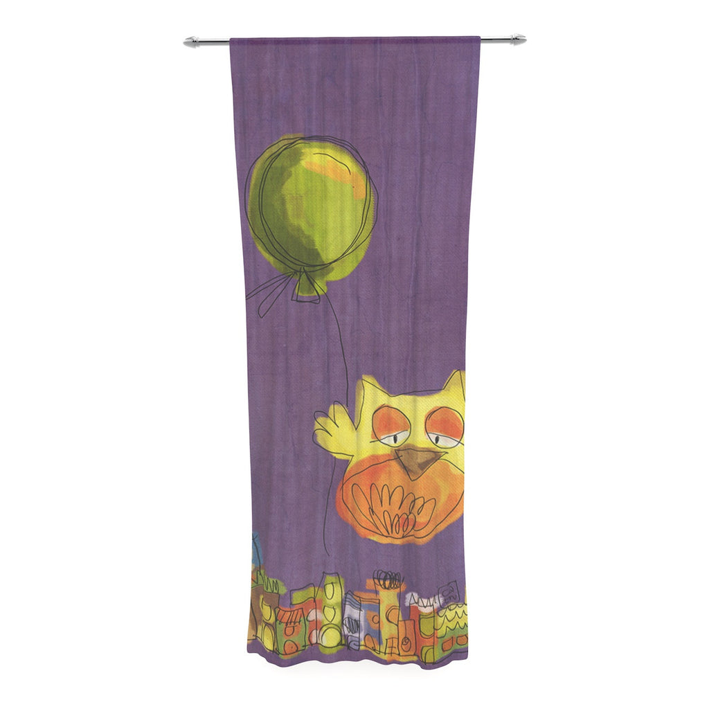 "Carina Povarchik ""Owl Balloon"" Purple Orange Decorative Sheer Curtain - KESS InHouse  - 1"