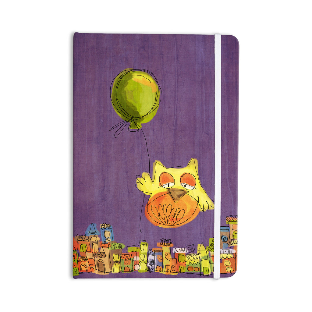 "Carina Povarchik ""Owl Balloon"" Purple Orange Everything Notebook - KESS InHouse  - 1"