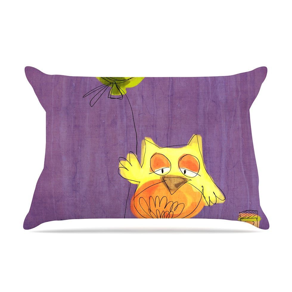 "Carina Povarchik ""Owl Balloon"" Purple Orange Pillow Sham - KESS InHouse"