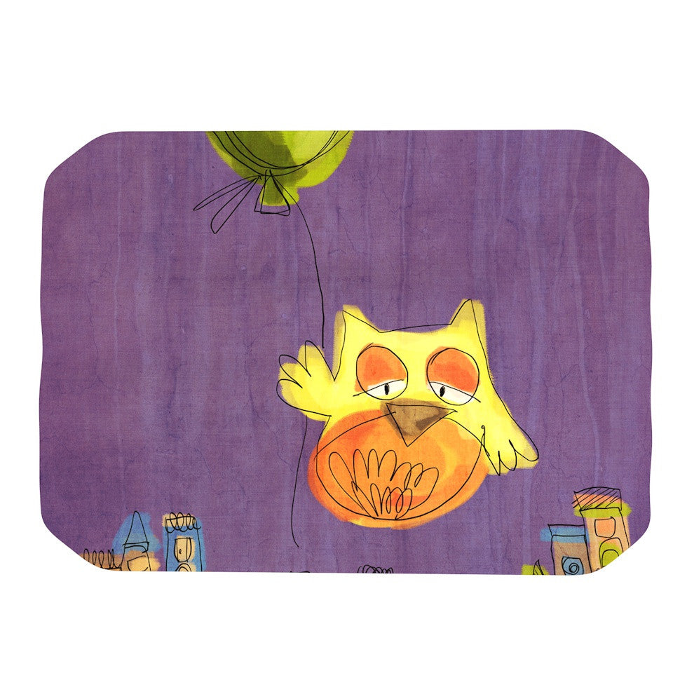 "Carina Povarchik ""Owl Balloon"" Purple Orange Place Mat - KESS InHouse"