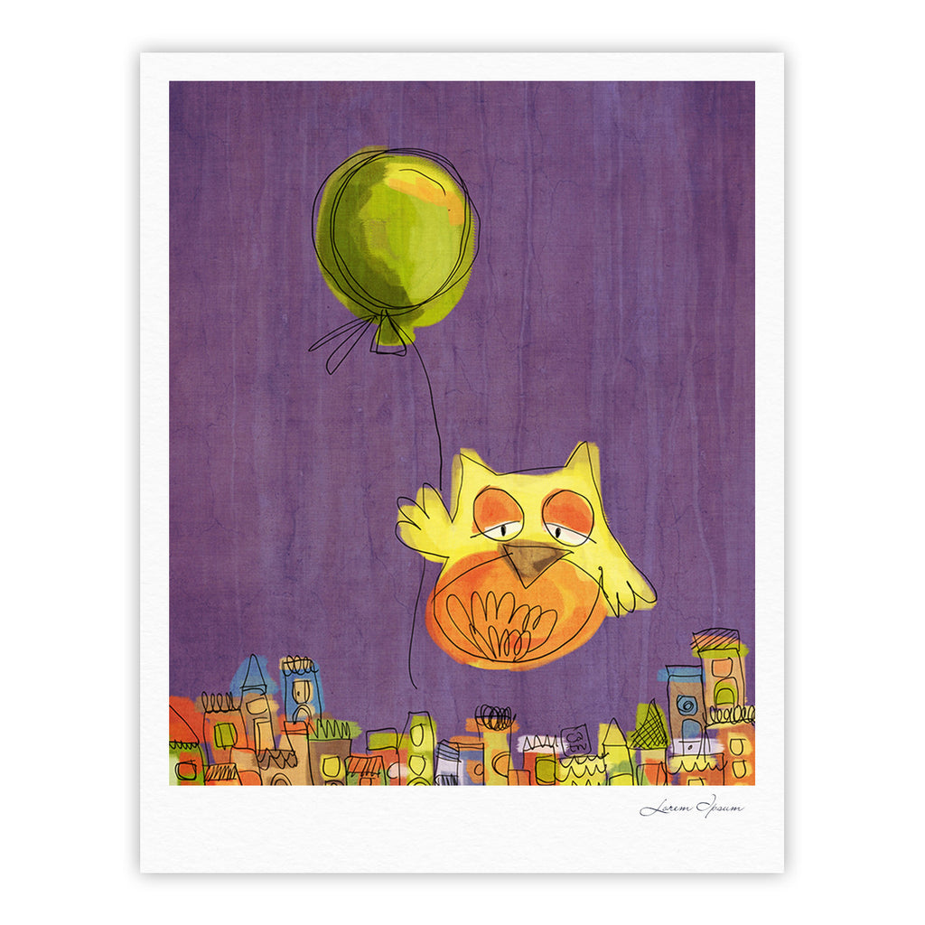 "Carina Povarchik ""Owl Balloon"" Purple Orange Fine Art Gallery Print - KESS InHouse"