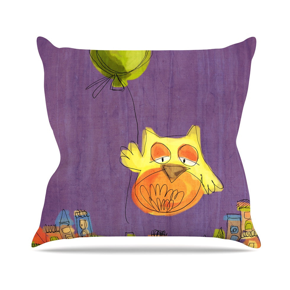 "Carina Povarchik ""Owl Balloon"" Purple Orange Outdoor Throw Pillow - KESS InHouse  - 1"