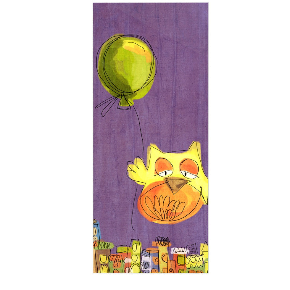 "Carina Povarchik ""Owl Balloon"" Purple Orange Luxe Rectangle Panel - KESS InHouse  - 1"