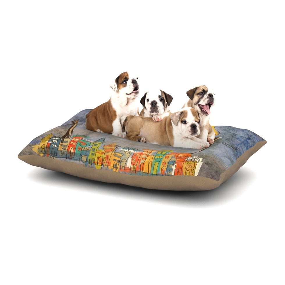 "Carina Povarchik ""Lechuzas"" Gray Multicolor Dog Bed - KESS InHouse  - 1"
