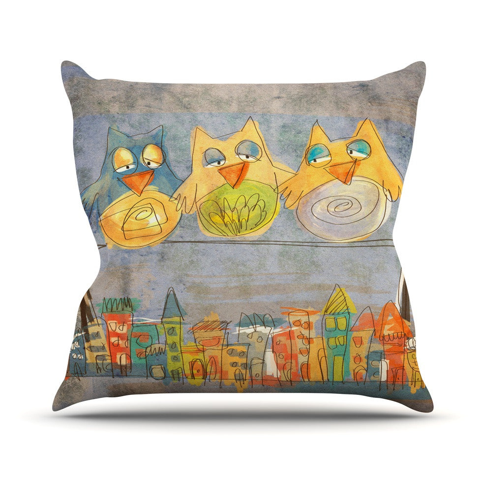 "Carina Povarchik ""Lechuzas"" Gray Multicolor Throw Pillow - KESS InHouse  - 1"