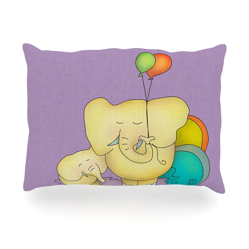 "Carina Povarchik ""Party Time"" Purple Yellow Oblong Pillow - KESS InHouse"